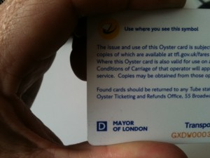 Oyster Card detail